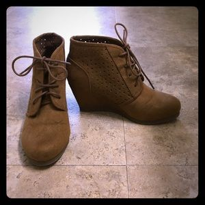 Brown Wedge Booties Size 5